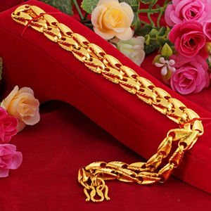 2021 New Fashion 24K Gold Chain Men Thick Solid Curb Cuban Link Chain Chokers Vintage Necklace for Men Women Jewelry