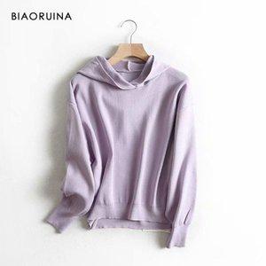Biaoruina mulheres pura cor solta base casual hoodies feminino outono inverno all-mat minimalista moletom moletom