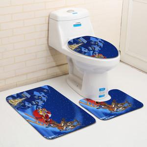 Serie di Natale Bagno 3 pezzi set tappetino da bagno tappeto tappeto e toilette Acqua assorbente antiscivolo Antitiskid Bathroom Entrance Floor Mat GWC3830