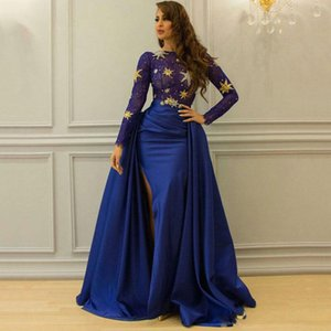 Royal Blue Overskirt Lace Dresses Prom Wear With Long Sleeve Bateau Neck Arabic Split Side Evening Gowns Dubai Beaded Formal Dress