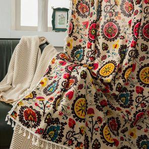 Panel de cortina estilo rural floral impreso con borlas de algodón lino sombreado sala de estar suave oscurecimiento hotel colgando la decoración del hogar