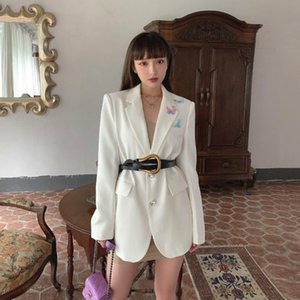 Vintage Single Breasted Women Blazers Jackets 2020 Autumn New Long Sleeve Turn Down Collar Women Long Coat White Outwear