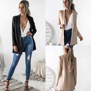 Mujer Cardigan Traje Abrigo 2021 Oficina de Negocios Lady Temperamen Largo Outwear Estilo Casual Blazer Coat for Women