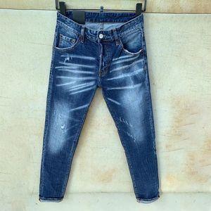 Hombres Jeans Rips Estiramiento Jeans Negro Italia Moda Slim Fit Lavado Motocycle Denim Pants Pantalones Hip Hop Panel