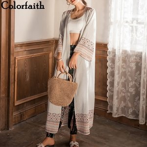 Кимоно кардиганы мода шифон летом племен ретро напечатанные длинные блузки женские рубашки Феминина женская одежда CA8091 201130