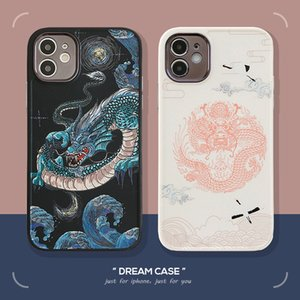 Chinese dragons Painting case iphone 12 mini 11 pro max 7 8 plus xs max fashion straight edge soft silicone shockpoof cover