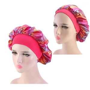 Satin Silky Holographic Hair Bonnet Hat African Women Beanie Elastic Wide Band HeadWrap Sleep Cap Laser Head Turban TB-75F 81E1