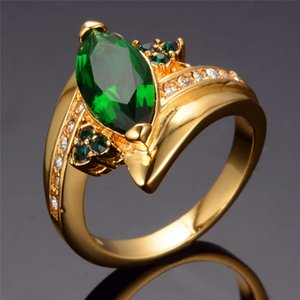 Luxury Female Green Crystal Stone Ring Vintage Yellow Gold Thin Wedding Rings For Women Charm Leaf Zircon Engagement Ring