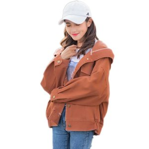 Spring women jacket 2020 fashion long-sleeved hooded female denim jacket loose single-breasted pure color ladies outerwear cw085