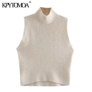 KPYTOMOA Kadınlar 2020 Moda Maruz Omuzlar Kırpılmış Örme Triko Vintage Yüksek Boyun Kolsuz Bayan Kazaklar Şık Tops