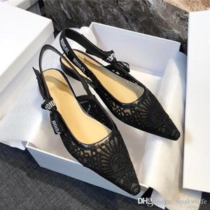 Upgraded black white letter shoes womens pointed bow with silk ribbon, flat heel and high heel sandals,With original box