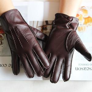 Bickmods Новые мужские моды Dealskin перчатки цветной сенсорный экран ручной сшитой шерсти подкладка натуральные кожи перчатки LJ201221