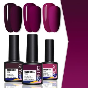 LEMOOC 3PCS Polish Polish Gelish Set Purple Red Series Nail Boolishes Deep Matte Effect Effect Soak Off Transques