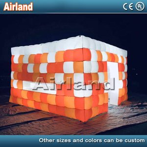 Customize large outdoor blow up cube wedding party led light camping inflatable square tent for outdoor events
