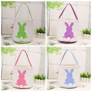Rabbit Printed Easter Bucket Canvas Cotton Plush Bunny Easter Handheld Basket Kids Easter Hunt Egg Candy Storage Bucket VTKY2176