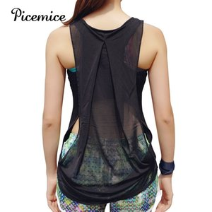PiceMice Women's Sports Chaleco Hollow Out Sexy Fitness Yoga Camisa de yoga Elástico Sin mangas Ropa deportiva Ropa deportiva Yoga Top Y200328