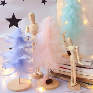 Feather Christmas Tree Girl Heart Christmas Gift Tiffany Decor INS Mini Pink Tree Decoration QW2561