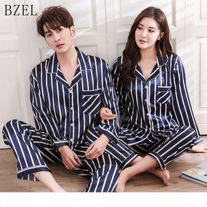 BZEL Silk Satin Pajamas Sets Couples Sleepwear Striped Pijama Femme Long Sleeve Pyjamas Lovers' Clothes Casual Home Wear