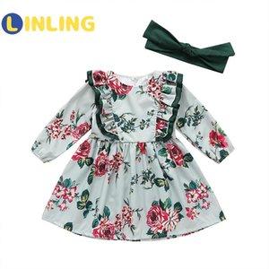 LINLING Sweet Girls Cute Sweet Dress Autumn Kids Dresses Long Sleeve Princess Dress Printed Flowerfor Girl Kids P321