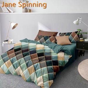 Jane Spinning Couvre de couette géométrique Couette de couette Literie Queen King Linge de lit SD02 # Q1215