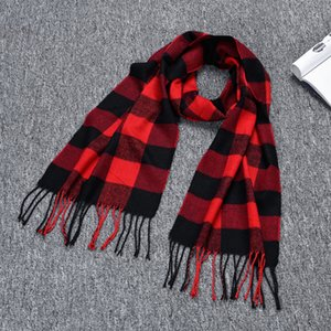 Red Black Plaid Scarfs for Women Designer Scarf Tassel Shawl Winter Warm Scarf Free Shipping Party Favor XD24266