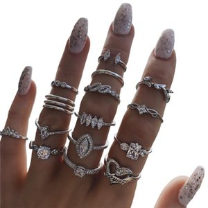 15pcs sets Bohemian Geometric Rings Sets For Women Vintage Silver Clear Crystal CZ Zircon Stone Rings Jewelry Accessories