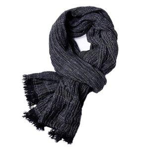 Male Brand Winter Scarf Men Warm Soft Tassel Bufanda Casual Cotton Linen Crinkle Men'S Scarves Shawl Black Navy Man Scarfs