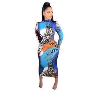 Sexy Designer Womens Dünne Kleider Lässige Leoparde Gedruckt Damenkleider Mode Crew Neck Slim Womens Kleidung