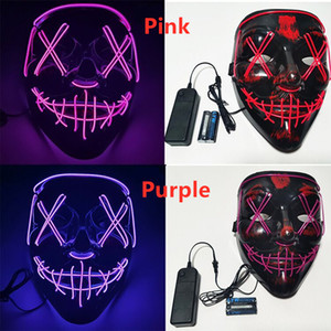 Halloween Horror mask LED Glowing masks Purge Masks Election Mascara Costume DJ Party Light Up Masks Glow In Dark 10 Colors DDC3994
