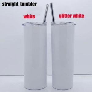 New arrived 20oz glitter sublimation straight skinny tumbler 600ml stainless steel slim tumbler with metal straw lid vacuum coffee mug
