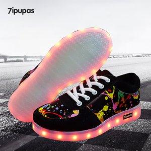 7ipupas Led light up shoes for children New 11 colors luminous sneakers usb rechargeable unisex kids boy girl Graffiti led shoe Y201028