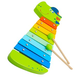 ومصنع مصنع لعب الأطفال من كروكود إكسبلوفون الخشب. مع 8 رقائق خشبية Xylophone. بما في ذلك 2 قطع العصي.