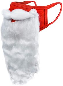 Holiday Santa Beard Face Mask Costume for Adults for Christmas (One Size fits All) Red EWE3150