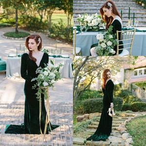 Emerald Green Velvet Evening Dresses Long Sleeve Deep V Neck Backless Long Mermaid Party Gowns Prom Dresses Custom Plus Size