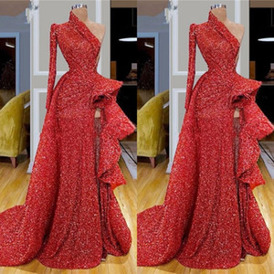 Dubai Arabic Red Sequins Lace Mermaid Evening Dresses Wear High Side Split Ruffles One Shoulder Party Gowns Vestidos Formal Gowns Prom Dress