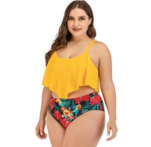 Fashion Sexy Plus Size Swimwear Women Split swimsuit bikini Push Up Ruffle Bathing Suit Female Beach Wear Retro Swimming Suit
