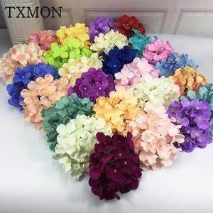 50pcs / lots 16cm Simulation Grand Hydrangea Fleur tête de fleur Fleurs de la soie Décoration de mariage Coiffure Diy Flower Wall Accessoires Q1126