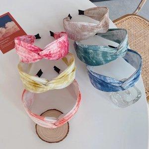 Moda Saç Aksesuarları Kadınlar Tie-Boya Totem Bandı Çapraz Düğümlü Geniş-Dikilen Kafa Kız Vahşi Yıkama Yüz Saç Bandı Şapkalar