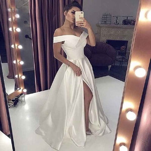 Off shoulder white evening dress