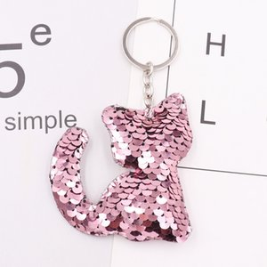 quality promote gift Dolphin cat tortoise dog Elephant decoration Double-sided reflective sequin keychain sequin bag pendant car keychain