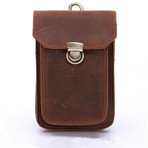 Taille Taschen Crazy Horse Leder Vintage Packs Männer Handy Pouch Reisen Fanny Pack Gürtelschlaufen Hüfte Bum Bag
