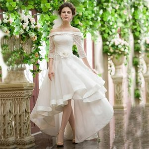 Vintage Style High Low Wedding Dresses Off Shoulder Half Sleeve Flower Belt Lace Organza Short Front Long Back Bridal Gowns Q1113
