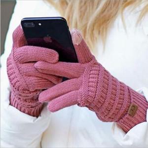 Новый CC вязальный сенсорный экран перчатки емкостные перчатки CC женские зимние теплые шерстяные перчатки противоскользящие вязаные телевизингеры перчатки рождественские подарки