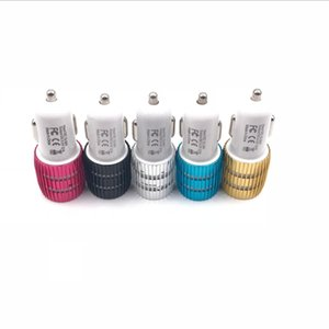 Wholesale colorful led USB car charger 2 ports 5V 2.1A micro auto power dual USB car adapter for iPhone Samsung
