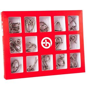 HOBBYLANE 15 PCS / SET IQ Puzzle Metal Puzzle Mind Cerveau Teaser Magic Fil Puzzles Jouets pour enfants Adultes Enfants 201218