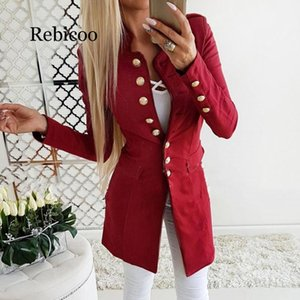 Rebicoo 2020 autumn and winter new women's jacket solid color casual Slim long-sleeved button coat