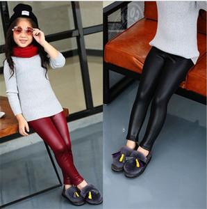 Baby Pure Color Elastic Leggings Autumn Girls Slim Long Leather Pants Fashion Children Wear New Arrival 6hc J2
