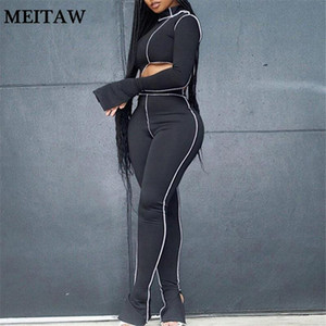 2020 Autumn spring 2 Piece Set Women Outfites Ladies One Shoulder Flare Sleeve Asymmetry Tops + Sport Legging Tracksuits Female