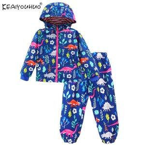 Bahar Çocuk Keaiyouhuo Giyim Rahat Çocuklar Spor Takım Elbise Karikatür Uzun Kollu Toddler Erkek Giysileri Setleri Kapüşonlu Yağmurluk