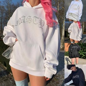 Fashion Bling Diamonds Hooded Pullover Casual Loose Sweatshirt Tops Streetwear Female Autumn Winter Long Sleeve Womens Outerwear